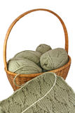 Knitting basket with skeins and needlework. Knitting basket with skeins and needlework over white background Stock Image