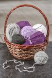 Knitting basket with yarns Royalty Free Stock Photography