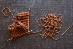Knitting on black background Royalty Free Stock Photography