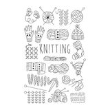 Knitting. Black and White Vector Hand drawn Set Royalty Free Stock Image