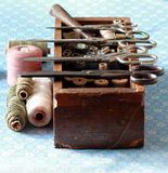 Knitting box with many thread tools and scissors Stock Photo