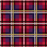 Knitting checkered seamless pattern mainly in pink and violet  Royalty Free Stock Photo