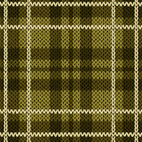 Knitting checkered seamless pattern mainly in warm green hues Royalty Free Stock Image