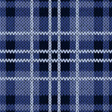 Knitting checkered seamless pattern in various blue hues Royalty Free Stock Photos