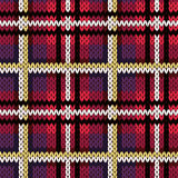 Knitting checkered seamless pattern in various colors Stock Photos