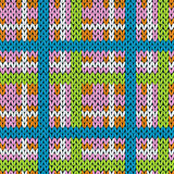 Knitting checkered seamless pattern in various colors Stock Images