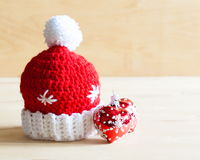 Knitting. Christmas hat, tree toy, close up Stock Photo