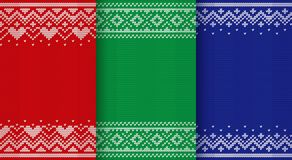 Knitting Christmas seamless patterns. Knitted textures. Vector i Stock Photography