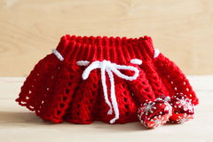 Knitting. Christmas skirt, tree toy,  close up Royalty Free Stock Photos