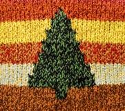 Knitting-Christmas tree. Christmas tree pattern, Christmas background Royalty Free Stock Photography