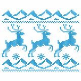 Knitting. Christmas vector background. Deers and snow. royalty free illustration