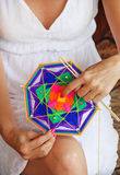 Knitting class mandalas. Shallow depth of field Royalty Free Stock Photo