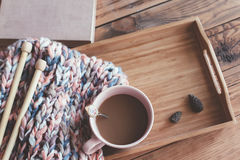 Knitting and coffee on a tray Royalty Free Stock Photo