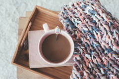 Knitting and coffee on a tray Royalty Free Stock Photography
