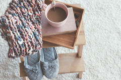 Knitting and coffee on a tray Stock Images