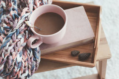 Knitting and coffee on a tray Royalty Free Stock Image