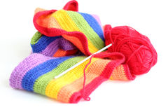Knitting a colorful scarf Royalty Free Stock Photos