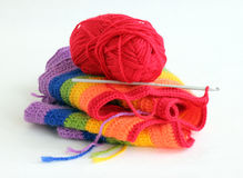Knitting a colorful scarf Stock Photography