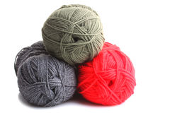Knitting. Colorful yarn for knitting on white background isolated Stock Images