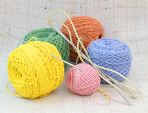 Knitting coloured balls Royalty Free Stock Photos