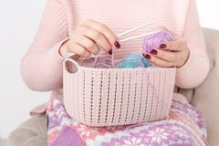 Knitting concept female hands with color clew ball Stock Image