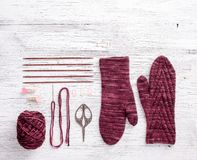 Knitting with copy space Stock Photography