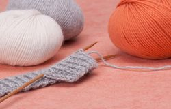 Knitting Craft Kit. Hobby Accessories.  Royalty Free Stock Photos