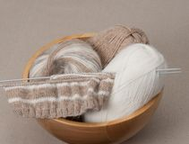 Knitting Craft Kit. Hobby Accessories.  Royalty Free Stock Photo