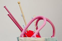 Knitting needles and wool Stock Images