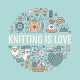 Knitting, crochet, hand made banner illustration. Vector line icon knitting needle, hook, scarf, socks, pattern, wool. Skeins and other DIY equipment. Yarn or Royalty Free Stock Photos