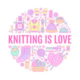 Knitting, crochet, hand made banner illustration. Vector line icon knitting needle, hook, scarf, socks, pattern, wool. Skeins and other DIY equipment. Yarn or Stock Photography