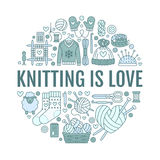 Knitting, crochet, hand made banner illustration. Vector line icon knitting needle, hook, scarf, socks, pattern, wool. Skeins and other DIY equipment. Yarn or Stock Images