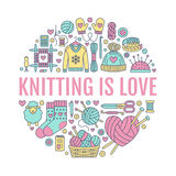 Knitting, crochet, hand made banner illustration. Vector line icon  needle, hook, scarf, socks, pattern, wool skeins an Royalty Free Stock Photography