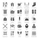Knitting, crochet, hand made flat glyph icons set. Needle, hook, scarf, socks, pattern, wool skeins, DIY equipment. Knitting, crochet, hand made flat glyph icons stock illustration