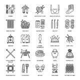 Knitting, crochet, hand made line icons set. Knitting needle, hook, scarf, socks, pattern, wool skeins and other DIY. Equipment. Linear signs set, logos with Stock Photography