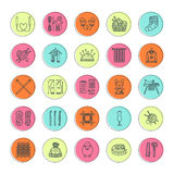 Knitting, crochet, hand made line icons set. Knitting needle, hook, scarf, socks, pattern, wool skeins and other DIY Royalty Free Stock Images