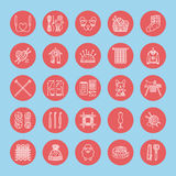 Knitting, crochet, hand made line icons set.  Stock Photos