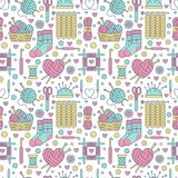 Knitting, crochet seamless pattern. Cute vector flat line illustration of hand made equipment knitting needle, hook. Wool, cotton skeins. Colored background Royalty Free Stock Photo