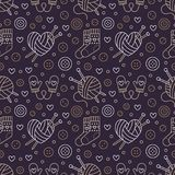 Knitting, crochet seamless pattern. Cute vector flat line illustration of hand made equipment knitting needle, hook. Wool, scissors, cotton skeins. Background Stock Photography