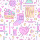 Knitting, crochet seamless pattern. Cute vector flat line illustration of hand made equipment knitting needle, hook Royalty Free Stock Photography