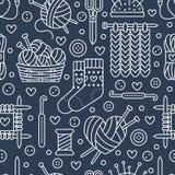 Knitting, crochet seamless pattern. Cute vector flat line illustration of hand made equipment knitting needle, hook, wool, scissors, cotton skeins. Background Stock Illustration