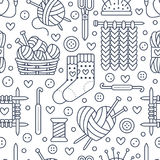 Knitting, crochet seamless pattern.  Stock Photo