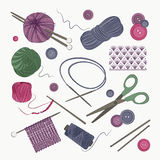 Knitting and crochet set Royalty Free Stock Images