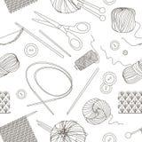 Knitting and crochet set pattern. Vector illustration, EPS 10 Royalty Free Stock Photo