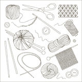 Knitting and crochet set. Vector illustration, EPS 10 Stock Photo
