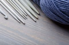 Knitting and crocheting tools royalty free stock photos