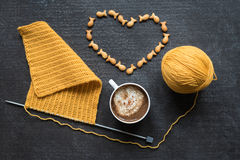 Knitting, cup of coffee and heart Royalty Free Stock Images