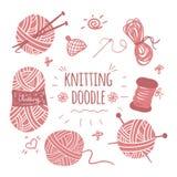 Knitting doodle icons set Stock Image