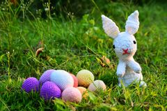 Knitting Easter eggs Royalty Free Stock Images