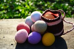 Knitting Easter eggs Royalty Free Stock Photography